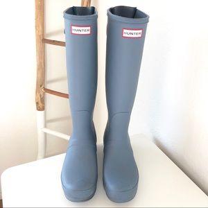 Hunter Adjustable Back Matte Blue Waterproof Boot